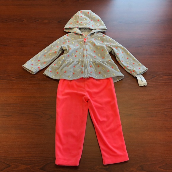 1ff259552fea Carters fleece girls hoodie   pants set 18 months. NWT